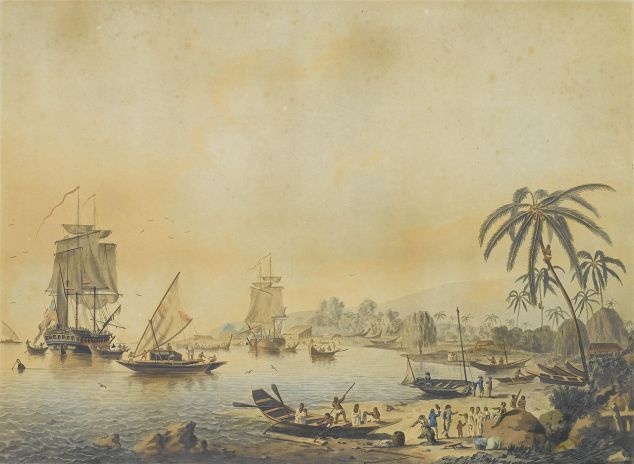 Cook's ships,  Resolution and Discovery, Tahiti