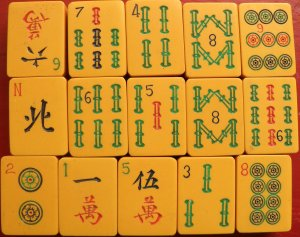 Mah-jongg tiles from the 1920s
