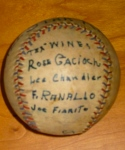 Baseball signed by the 1934 All-Star Rangers players.
