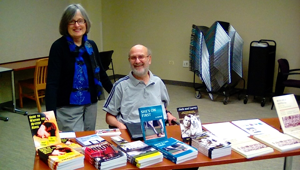 At the Bloomingdale Public Library, Illinois, with my favorite roadie, Phil Passen