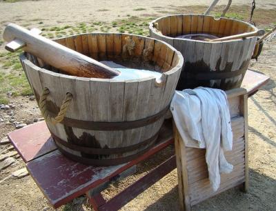 wooden washtubs